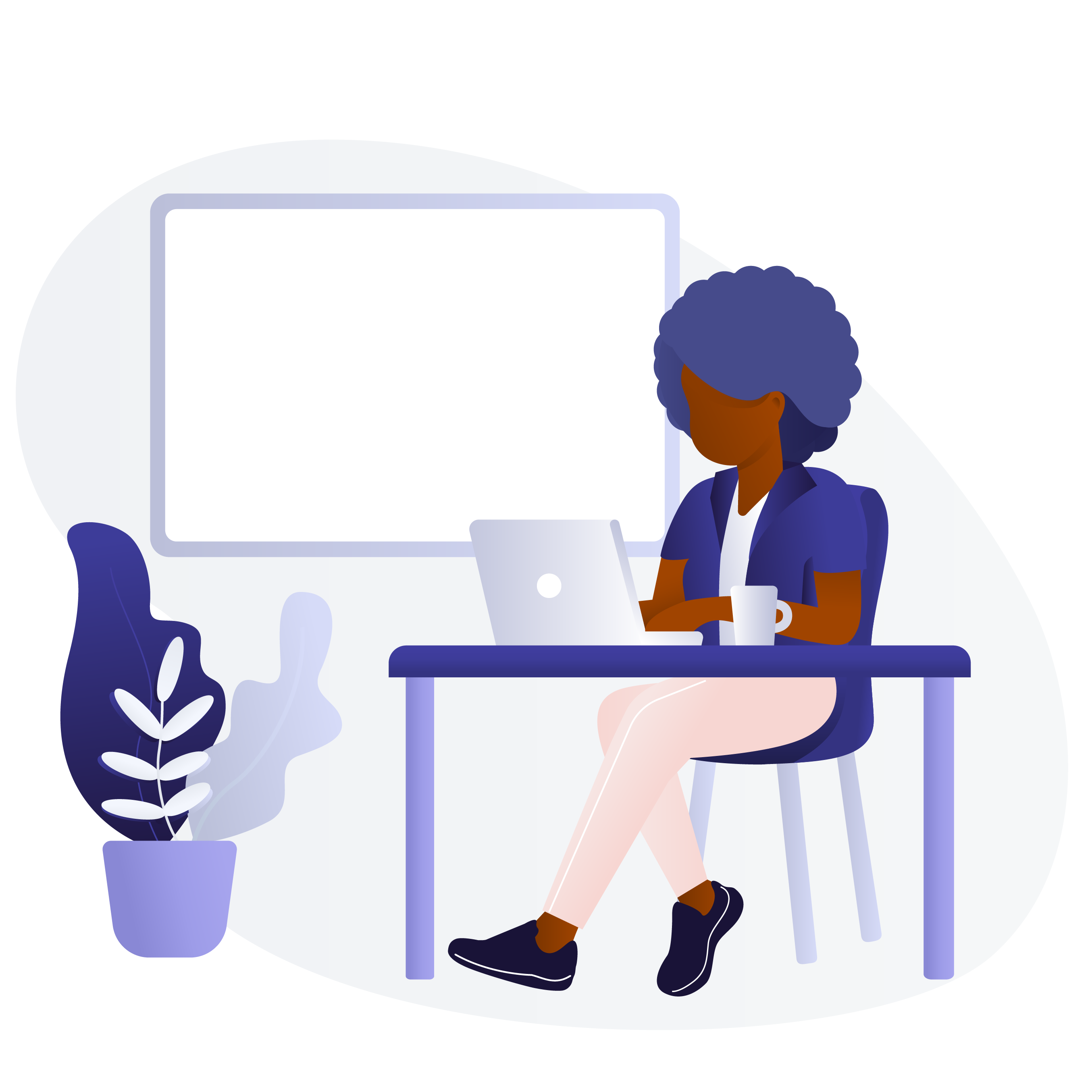 Black woman using laptop illustration